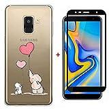 FHXD Compatible con Funda Samsung Galaxy J6 Plus Ultra Thin Transparente TPU Cáscara Protectora [9D Película de Vidrio Templado] Soft Silicona Anti-Arañazos Cubierta-Elefantes y Conejos