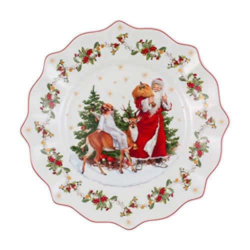 Villeroy und Boch - Annual Christmas Edition Jahresteller 2020, Teller mit goldenem Bodenstempel, Premium Porzellan, rot, bunt, 24 x 24 cm