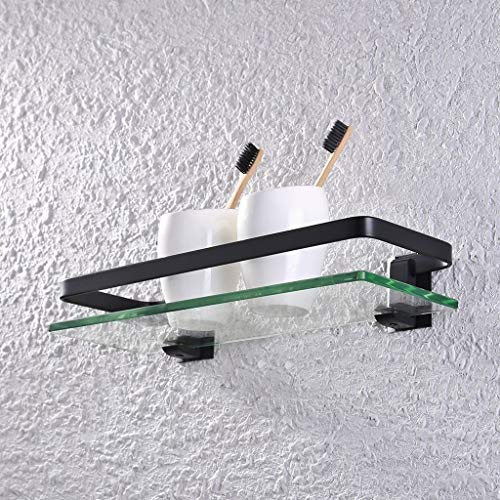 Planchet Rechthoekige douche Schappen Met Rail aluminium en extra dikke gehard glas 03.22 (Color : Black)