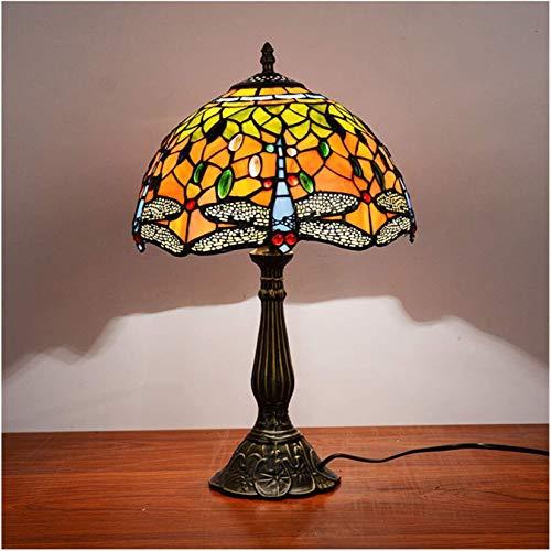 Lámpara de mesa de estilo Tiffany Shade, base de aleación de lámpara de cristal de libélula de 12 pulgadas, luz de noche de protección ocular, lámpara de noche, lámpara de lectura de escritorio, utili