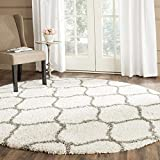 Safavieh Hudson Shag Collection SGH280A Moroccan Ogee 2-inch Thick Area Rug, 9' Round, Ivory/Grey