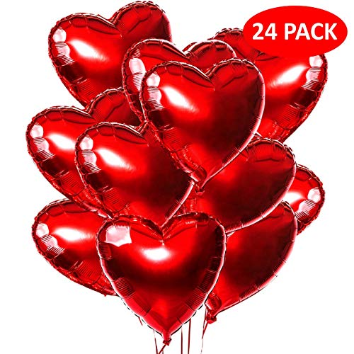 Playcrate 24x Herz Helium Luftballons Rot – Folienballon & Herzluftballon Set für Hochzeit, Verlobung & Valentinstag – große Folien Ballons & Heliumballons in Premiumqualität