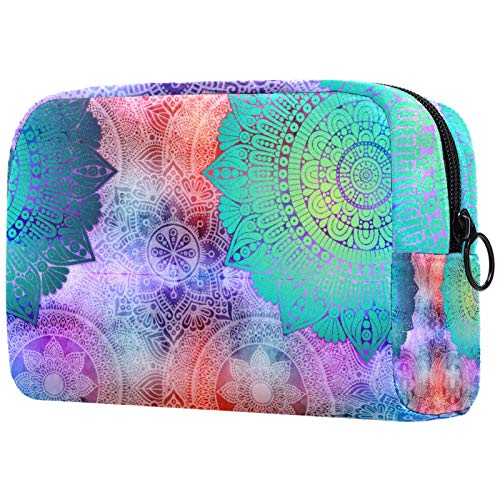 Vintage Mandalas acuarela azul rosa cosmética bolsa de viaje Neceser cosméticos Bolsas para mujer con cremallera bolsa de maquillaje bolsa de cosméticos bolsa organizador