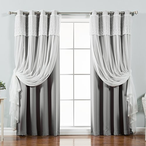 Best Home Fashion Mix & Match Tulle Sheer with Attached Valance & Solid...