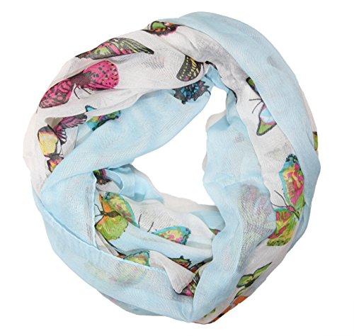 MANUMAR Loop-Schal für Damen | Hals-Tuch in Blau mit Schmetterling Motiv als perfektes Herbst Winter Accessoire | Schlauchschal | Damen-Schal | Rundschal | Geschenkidee für Frauen und Mädchen