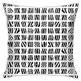 XXUU Zebra, Blanco y Negro, Funda de Almohada con Diagrama de 18 'X18', Funda de Almohada Cuadrada, cojín para sofá...
