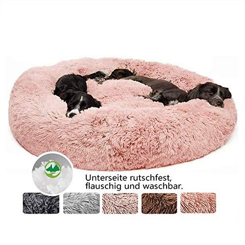 Deluxe weich Hundebett, Sofa waschbar, Rundes Plüsch Hundekissen Katzenbett in Doughnut-Form für große und extra große Hunde - Rosa Ø 120cm