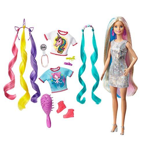 Barbie GHN04 - Barbie Fantasie-Haare Puppe mit Meerjungfrauen- und Einhorn-Looks, für Kinder ab 5 Jahren