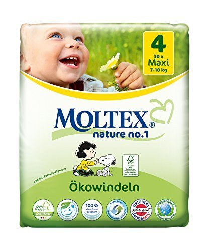 MOLTEX Nature No1 Lot de 120 couches écologiques pour bébé Taille 4 (7-18 kg) 4 x 30 pièces