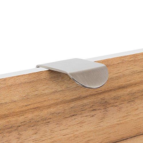Gedotec Möbelgriff Edelstahl Schranktür-Griff Spiegeltür Griffleiste L-Form - H10128 | Lochabstand: 12 mm | Edelstahl matt gebürstet | 1 Stück - Schrankgriffe gebogen für Schubladen & Küche