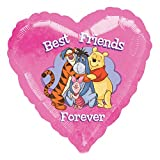 Disney 2416301 Heart Shape Foil Balloon with Winnie the Pooh Theme-1 Pc