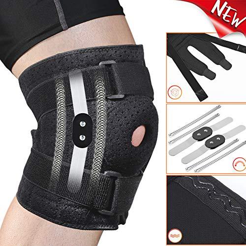 Rodillera ajustable con bisagras para hombres y mujeres, estabilizador de rótula abierta, soporte para rodillas, artritis, alivio del dolor, protección para correr, rodilleras