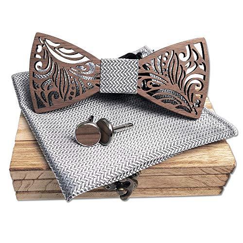 Handgemaakte natuurlijke klassieke stijlvolle houten vliegen, chique look, met manchetknopen en steekzakken, modeaccessoires en ideale geschenken, geschikt voor meerdere scènes