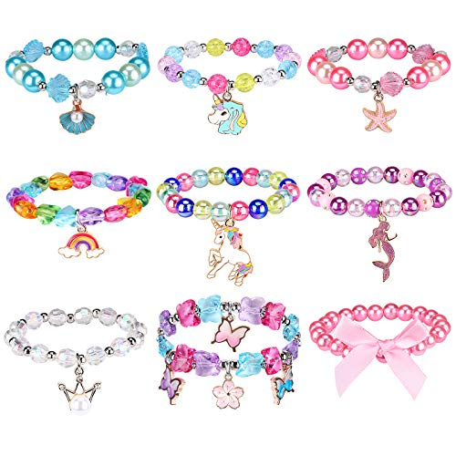 G.C 9 Pcs Bead Girls Bracelet With Cute Unicorn Rainbow Shell Mermaid Starfish Floral Design Colorful Kids Gift Toy Party Favors Friendship Pretend Dress Up Play Costume Jewelry For Toddler Girls