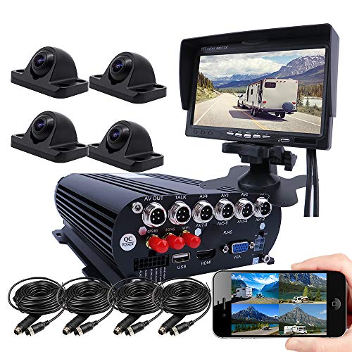 JOINLGO 4 Channel GPS 4G 1080P AHD HDD/SSD Mobile Vehicle Car DVR MDVR Video Recorder Kit Live View on PC/Phone/Web with 4 Side Front Rear View Backup Starlight Car Cameras 7 inches VGA Car Screen