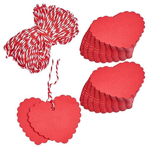 PandaHall Elite 100 Pcs Etiquetas de Precios de Papel con Pantalla de Joyería, con Cordón de Cáñamo, Corazón, Rojo, 60x60 mm, Cordón: Unos 20m