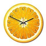 LIUNIAN Reloj de Pared Modelo de Madera Naranja Reloj de Pared Reloj de Pared de Madera de Colores Funciona con batería Sin tictac para Sala de Estar, Cocina, decoración