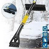MGRETT Eiskratzer, Auto Eiskratzer Skalierbares, Schneeschaufeln mit 360° Bürstenkopf, Abnehmbar Schnee Pinsel mit Schaumstoffgriff für Autos Truck SUV Windschutzscheibe (Gelb)