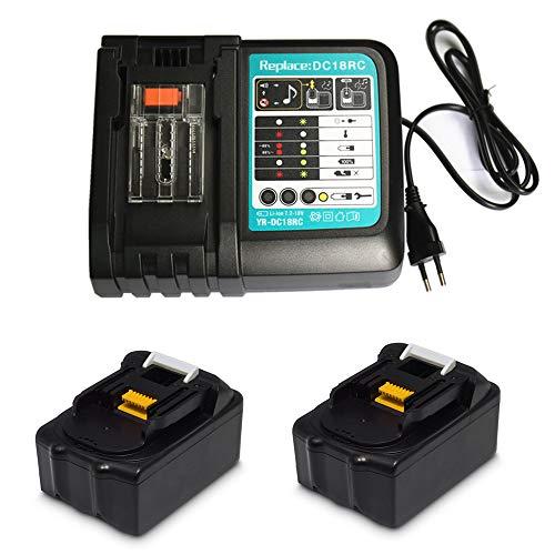 Ersatz Ladegerät mit 2X Akku 18V 5.0Ah für für Makita Baustellenradio DMR110 DMR112 DMR115 DMR107 DMR108 DMR109 DMR106 DMR104 DMR101 DMR100 BMR102 BMR100 BMR104 18 Volt Radio Batterie