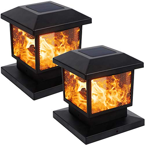 MAGGIFT 2 Pack Solar Flame Post Lights, Outdoor Brightness 72 SMD LEDs Flickering Flame Solar Powered Cap Light for Halloween Christmas, Fits 4x4, 5x5 or 6x6 Wooden Posts, for Yard Fence Deck or Patio