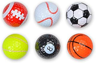 Shuzhu Assorted 6 PCS Golf Balls (Basketball, Football, Volleyball,Tennis, Baseball, 8-Ball) Double-Layer Construction 75% Strong Resilience Force Sports Practice Novelty Balls Golf Balls Gift