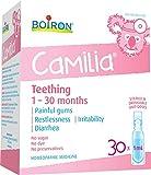 Boiron Camilia Médicament de dentition pour bébé 30 doses (1 ml chacune) Camilia soulage la douleur, l'agitation, l'irritabilité et la throhée due à la dentition. Sans benzocaine et sans conservateur, avec ingrédients actifs naturels, sans sucre, sans colorant