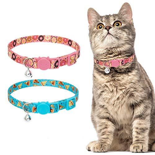 PUPTECK Breakaway Katzenhalsband mit Glöckchen, 2 Stück, mit Pizza-/Donut-Muster, niedliche Halsbänder mit Glöckchen für kleine Welpen, Kätzchen, Kätzchen