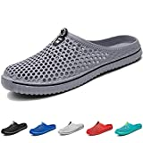 BOLOG Summer Garden Clogs Unisex Breathable Lightweight Flip Flops Quick-Dry Mesh Water Shoes Non-Slip Footwear Walking Shower Beach Sandals Hole Slippers Women Men Grey, 8 UK, Grey