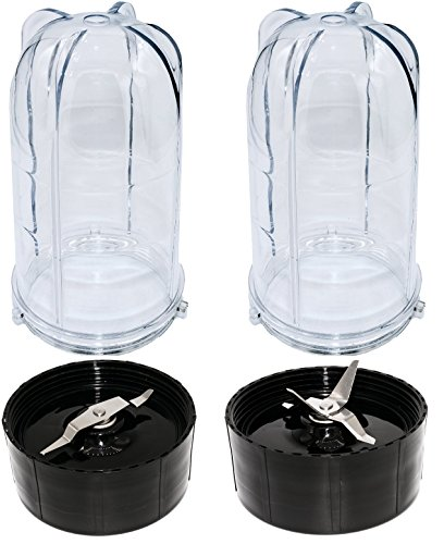 Blendin 2 Pack Tall Cups with Cross and Flat Blade Combo,Compatible with Original Magic Bullet Blender Juicer 250W MB-1001
