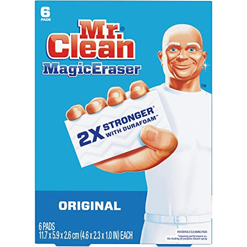 Mr. Clean Magic Eraser Original Cleaning Pads with Durafoam, White 1' x 4.60' x 2.30', 6 Count