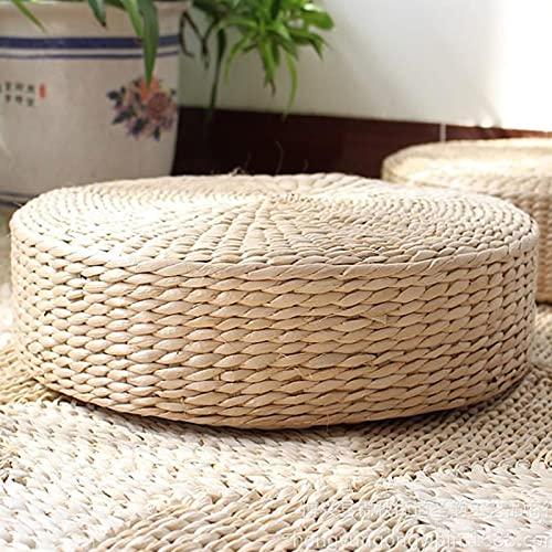 Plcnn Sitzkissen, 30,5 x 10,2 cm, rund, gewebtes Stroh, japanischer Stil, atmungsaktiv, Rattan, Futon, Sitzkissen, handgefertigt, Tatami, Bodenkissen für Zen, Yoga oder Buddha-Meditation