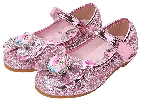 KANDEMY ELSA Schuhe Kinder Glitzer Prinzessin Schuhe mit Pailletten Mädchen Sandalen für Kleine Eisprinzessin Halloween Fest Karneval Party Pink 28