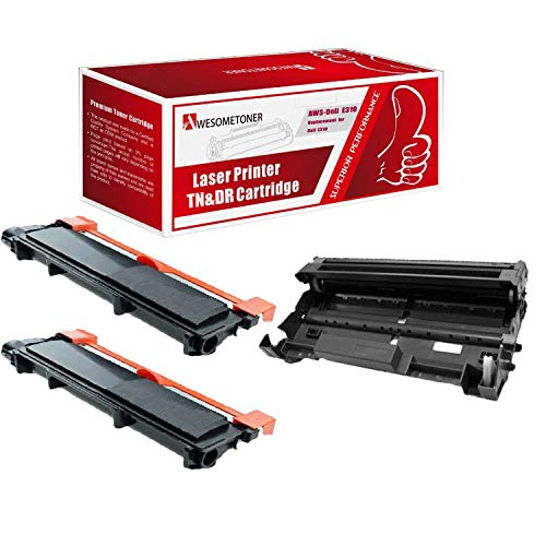 Awesometoner - Cartucho de tóner Compatible con DELL E310 y DELL E310, 2xToner Black & 1xDrum