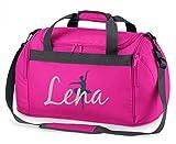 Sporttasche mit Namen | Personalisieren & Bedrucken | Motiv Ballett-Tänzerin | Reisetasche Umhänge-Tasche für Mädchen | inkl. Namensdruck (pink)