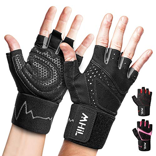 MhIL Workout Gloves Mens & Womens – Weight Lifting Gloves Male & Female, Gym Gloves for Men – Exercise Gloves, Training Gloves with Wrist Support for Work Out, Fitness, Pull up, Weightlifting, Rowing