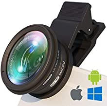 BullyEyes - Phone Camera Lens Attachment : Wide Angle and Macro for iPhone, Samsung, Huawei. For Outdoors Photography and Vlogging: Yoga, Parkour, Skating, Gym Workout, Camp, Travel