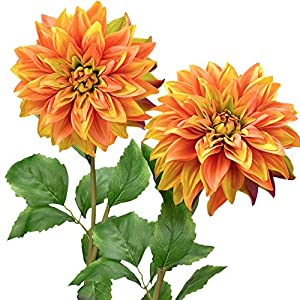 FiveSeasonStuff Artificial Flowers Dahlia Silk Flowers for Outdoors Indoors and Tall Vases 2 Stems (Amber Yellow Autumn Orange)