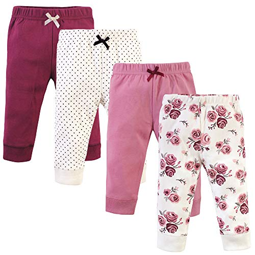Hudson Baby Unisex Baby Cotton Pants and Leggings, Rose, 3-6 Months