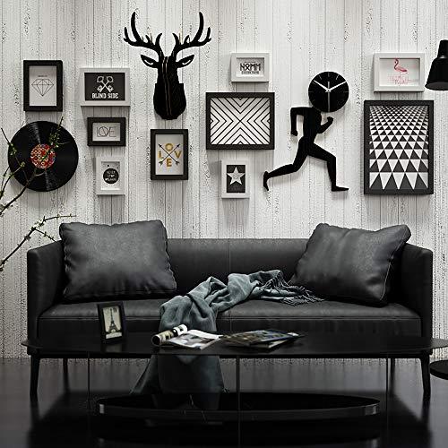 YANGMAN-F DIY 3D puzzel herten hoofd muur opknoping Decor foto frame set, voor open haard, kantoor, slaapkamer, woonkamer en hal, met hardloopman muur klok