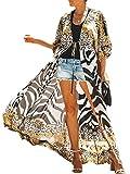 AiJump Donna Chiffon Kimono Caftan Abito da Spiaggia Maxi Parei Copri Bikini Costume da Bagno Cover Up