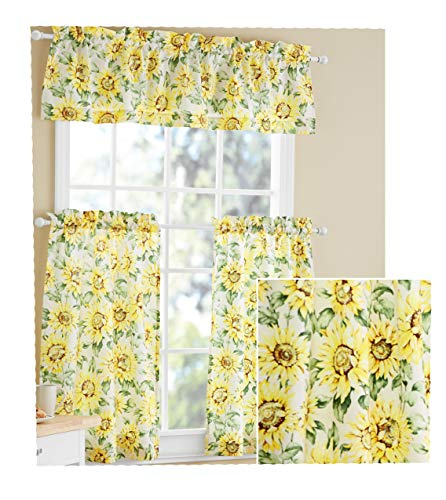 Sunflower 3 Piece Valance & Tiers Cafe Curtain Set Country Kitchen Yellow Ivory