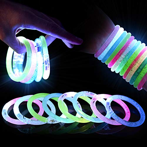 15 Pulseras Luminosas LED| Pulsera de Luz Intermitente, Fluorescentes con Baterías Repuesto e Botón Encendido/Apagado| Fiesta Cumpleaños Neón Disco Festival Halloween Navidad para Niños Adultos.