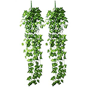 Blulu Artificial Ivy Hanging Vine Plant Leaves Garland for Christmas Wedding Party Garden Wall Decoration, 2 Pack