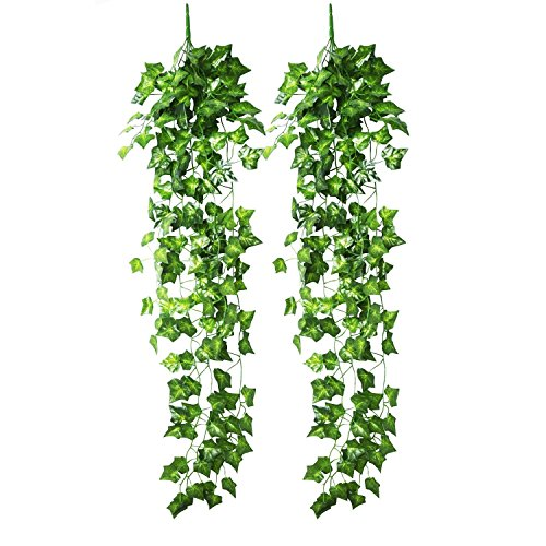 Blulu Künstlich Efeu Hängend Pflanze Blätter Girlande für Hochzeit Party Garten Wanddekoration, 2 Stück
