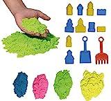 Arena mágica para modelar. 800 gr. 4 Colores. con 10 moldes de Castillos y Utensilios