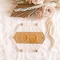 ヘキサゴンリングピロー クリアゴールド 名入れ刻印 ウェディング/結婚式/ウェルカムスペース/結婚証明書