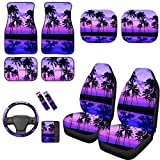 TOADDMOS 12-Piece Set Universal Purple Sunset Beach Palm Tree Hawaiian Style Car Front Seat Covers/Carpet Floor Mats/Steering Wheel Cover/Armrest Cover/Seat Belt Pads/Car Windshield Sunshade