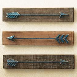 Metal & Wood Arrow Wall Hangings - Set of 3