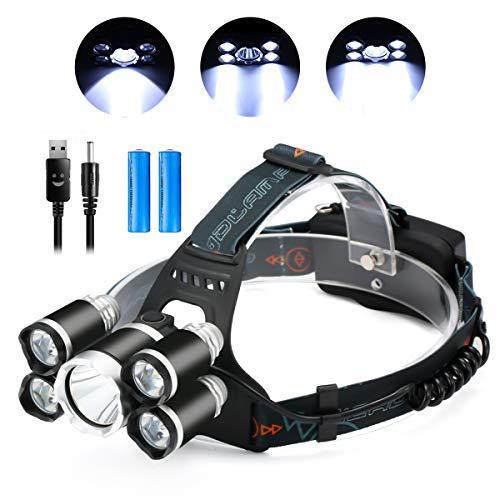 SGODDE Lampe Frontale Rechargeable 8000 lumens, Étanche Lampe Frontale à 5 LED 4 Modes avec 2 x 18650 8800mAh Batterie Rechargeable et Chargeble Câble USB pour Running Pêche Camping Randonnée