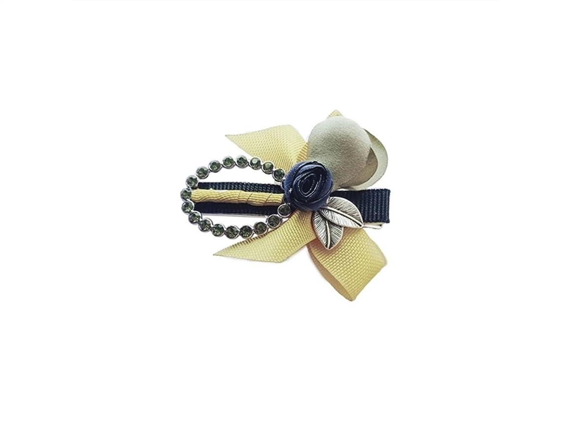 一口イル雰囲気Osize 美しいスタイル カラーフラワーリーフヘアクリップフラワーラインストーンオーバルラインストーンダックビルクリップ(イエロー)